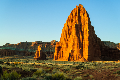 Temple of the Sun and Moon, morning light, Cathedral Valley, Capitol Reef National Park, Utah