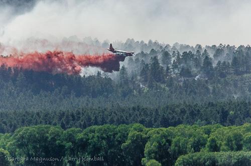 Slurry drop along south edge of Duckett fire.
