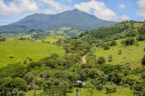 Backroad view of Volcan Tenorio from Tierras Morenas to Highway 6 south of Bijaguas.