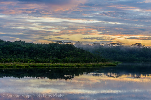 Sunrising over Laguna Anangucocha and the Napo Wildlife Center. View from our cabina.