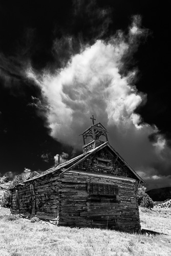 Yellowstone Church, IR Filter, B&W